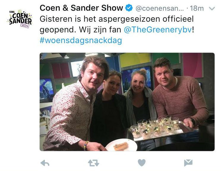 tweet Coen en Sander Show