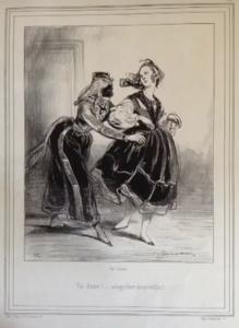 Amitié sans retenue de deux jeunes femmes - dessin de Gavarni