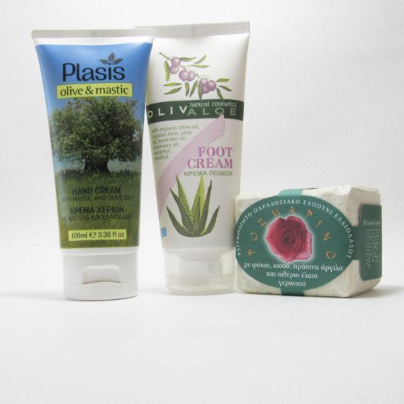 Σετ κρέμα χεριών-κρέμα ποδιών-σαπούνι με πράσινη άργιλο