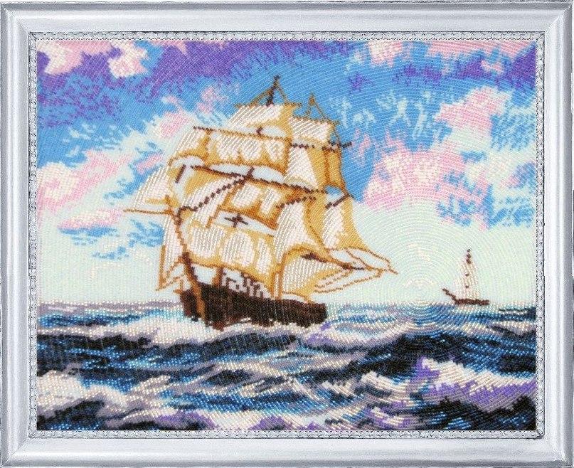 Корабль парусник в вышивке 914