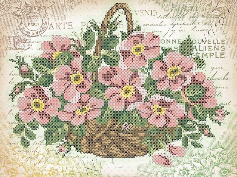 Вышивка лентами корзинка для цветов