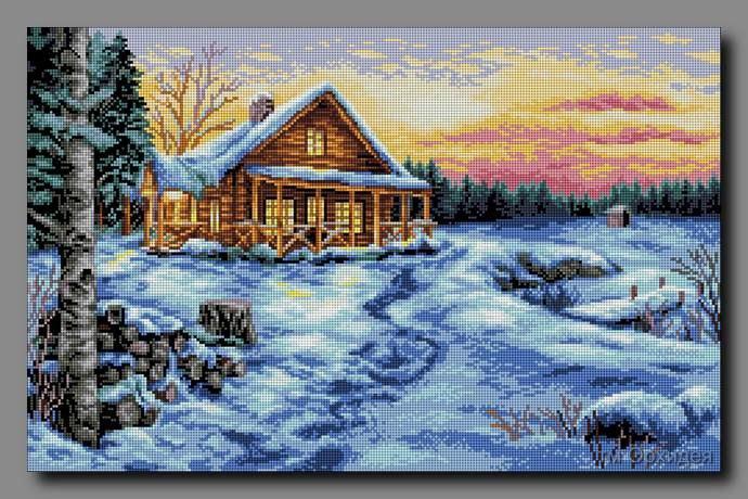 Зимний закат схема вышивки крестом 86