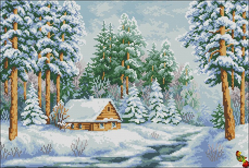 Вышивка крестом зимний пейзаж 22