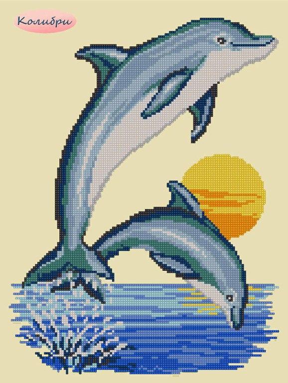 Вышивка дельфины гладью 75
