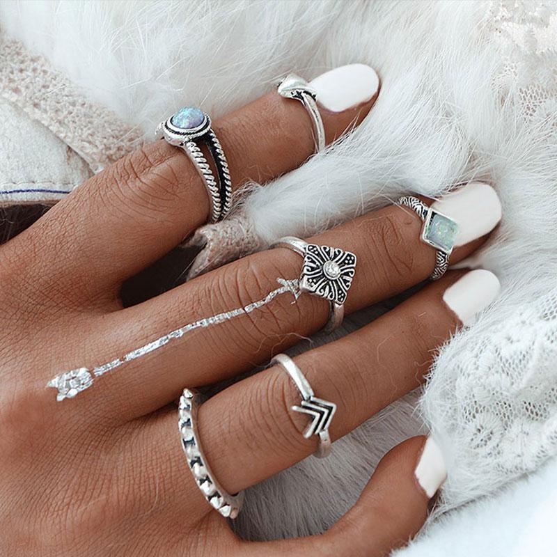 Σετ 6 Δαχτυλίδια Ασημί Vintage με Γαλάζια Πέτρα και Σχέδια ... 66ece862bac