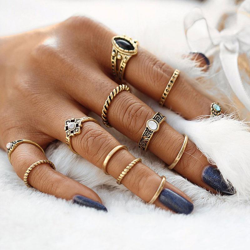 Σετ 12 Χρυσά Δαχτυλίδια Boho με Πέτρες και Σχέδια - ACCESSORISTA a696665a292