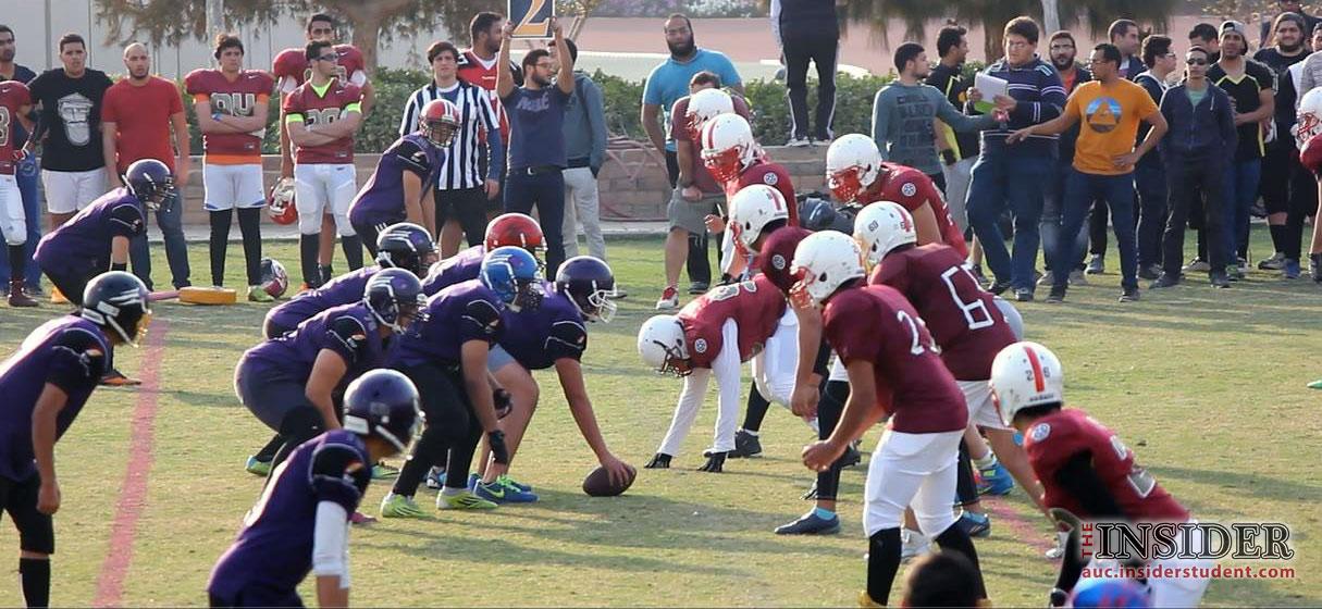 صورة من مباراة اليوم بين فريق AUC Titans و فريق Cairo Bears أمس. تصوير: أحمد عبد العاطي