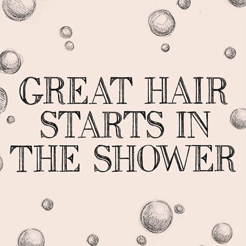 "Quote ""Great hair starts in the shower"""