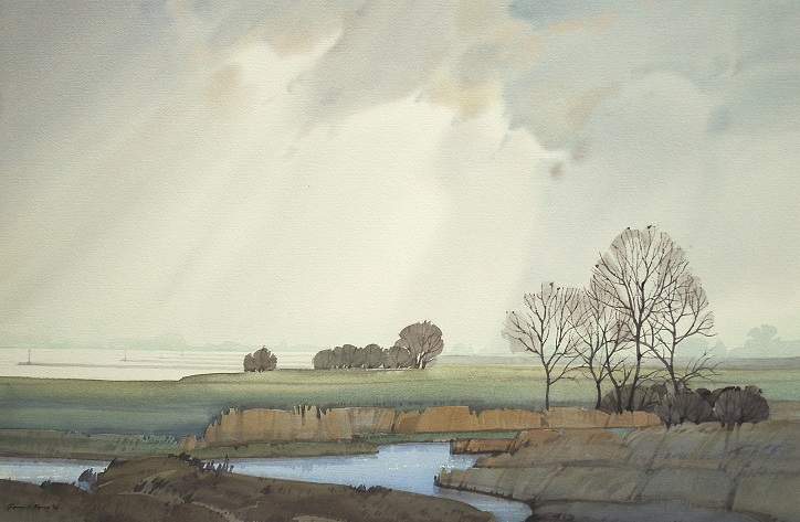 Gerrit neven  uiterwaard bij lopik  aquarel  70 x 90 cm 1950 00 eurp gns 0011