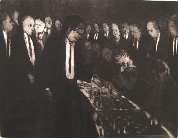 Willy belinfante  simultaan schaken  ets  50 x 65 cm.