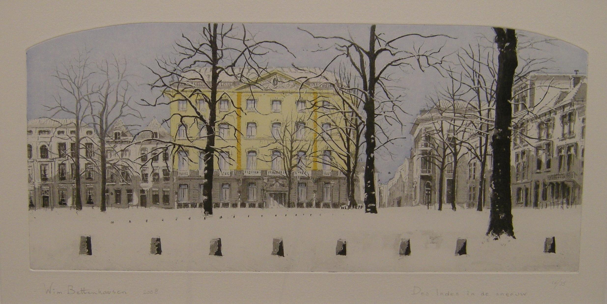 Wim bettenhausen des indes in de sneeuw  ets  aquatint  73x53 cm