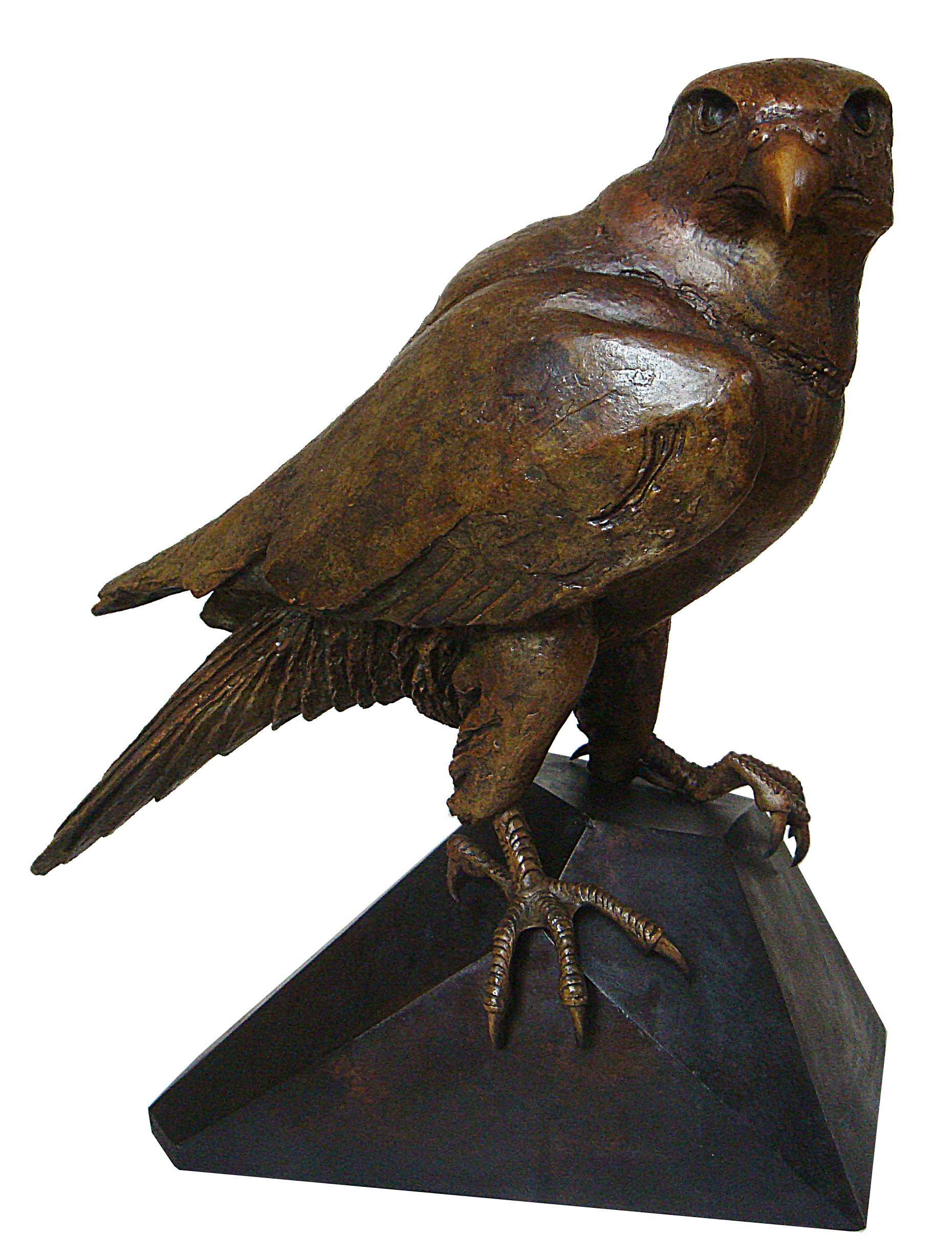 Loek prins   slechtvalk groot  brons  hoog 30 cm. e.2850 00  .