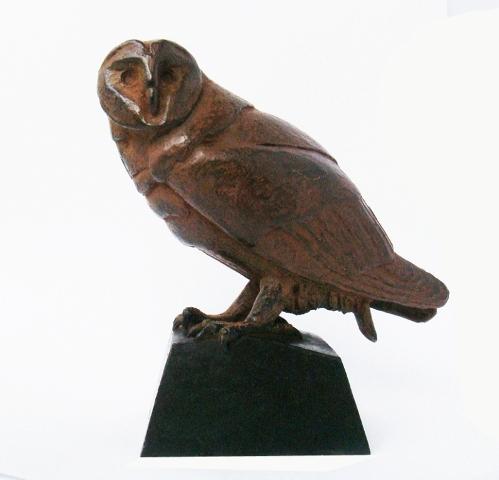 Loek prins  kerkuil klein  hoog 13 cm.breed 13 cm. brons  e. 750 00 .