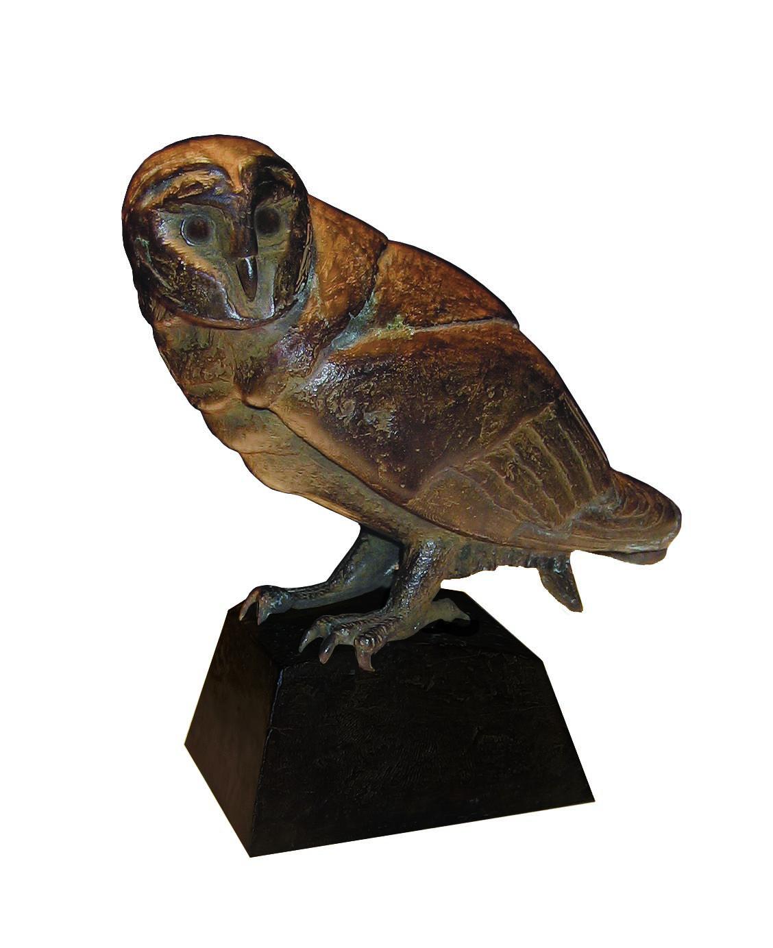 Loek prins  kleine kerkuil  brons e 750 00 hoog 13 cm