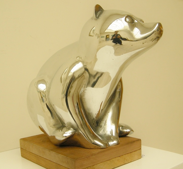 Loek prins  ijsbeer  aluminium  hoog 27 cm. e. 1950 00
