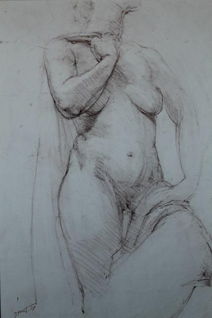 Bart holt  modelstudie  rood krijt  100 x 70 cm. .jpg
