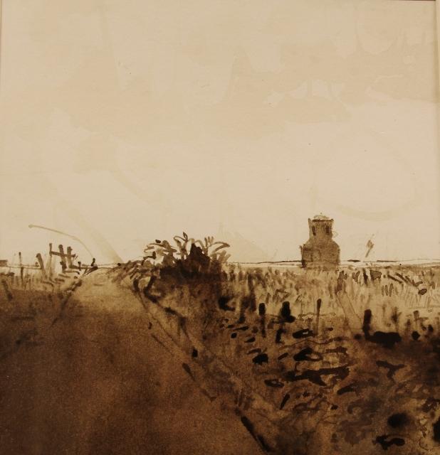 Jan van der kooi atmosferisch landschap  penseel tekening in bister  43x33 5 cm. e. 1500 00 %282%29