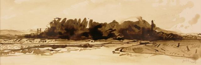 Jan van der kooi  bossage  penseel tekening  e.1400 00  30 x 49 cm. %282%29
