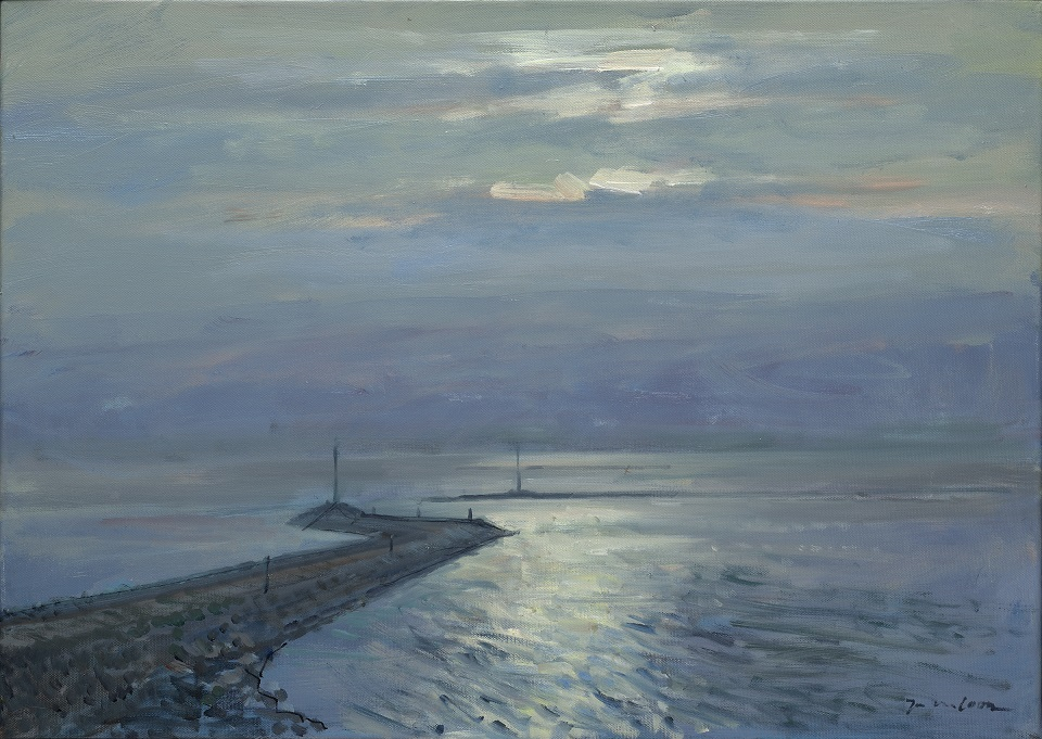 Jan van loon  havenmond  olieverf  50 x 70 cm. e. 1850 00