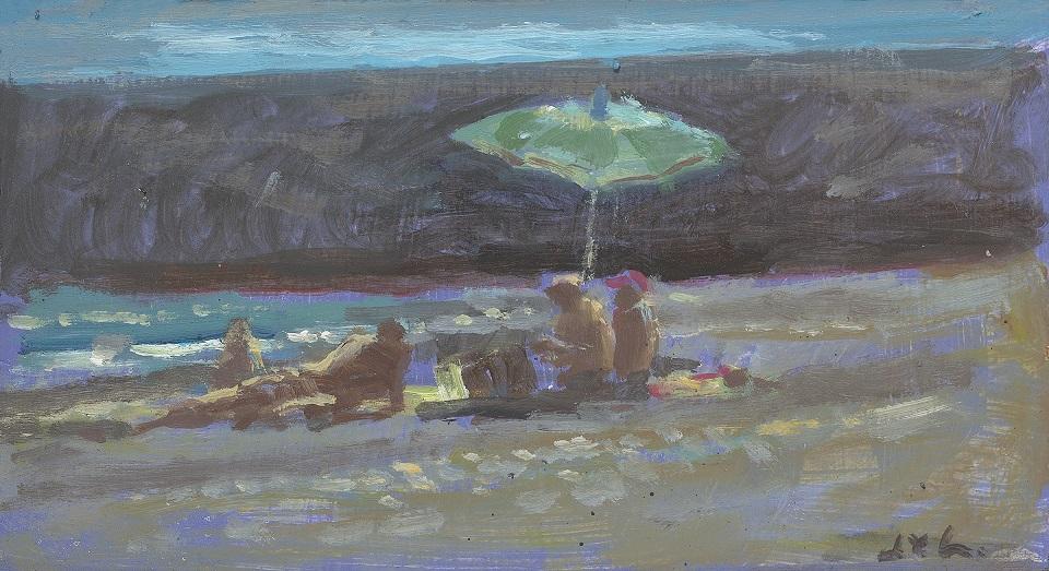 Jan van loon  strand tenerife  olieverf  12 x 22 cm.  e. 450 00