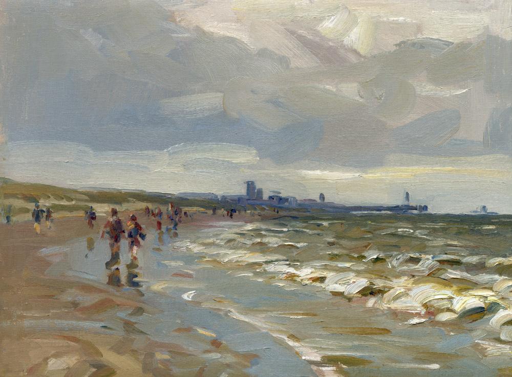 Hans versfelt  strand met pier en wandelaars  olieverf op doek  30 x 40 cm. e. 1400 00