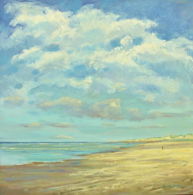 Jan van loon  strand  terschelling  olieverf 115 x 115 cm.  e. 4800 00