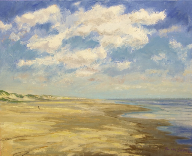 Jan van loon  strandgezicht  olieverf  99 x 117 cm.  e. 4500 00