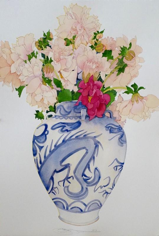 Gary bukovnik   dahlias in a chinese urn 82 x 56cm