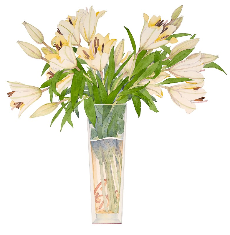 Gary bukovnik   gold lilies in a tall vase 87 x 81 cm