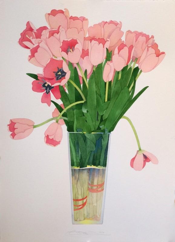 Gary bukovnik   peach tulips 77x57cm