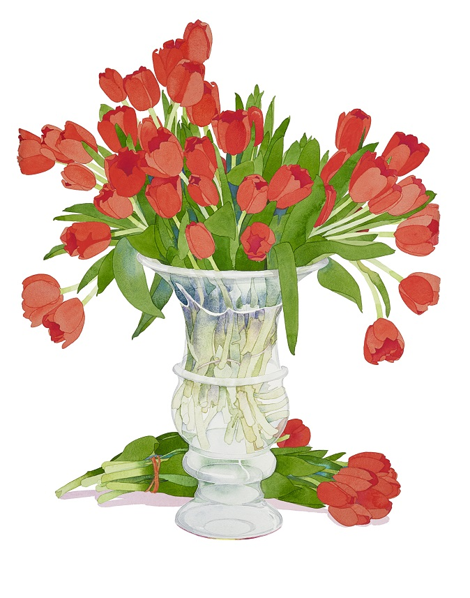 Gary bukovnik  red tulips in a glass urn 78x57cm 29891.garybukovnik16160 rgb