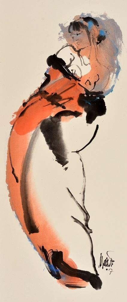 Marie jose leenders  geisha in vermiljoen i  sumi e inkt aquarel  120x60  cm
