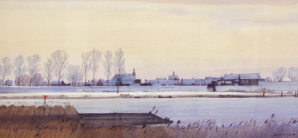 Gerrit neven  de lek bij nieuwpoort  aquarel  e. 1650 00