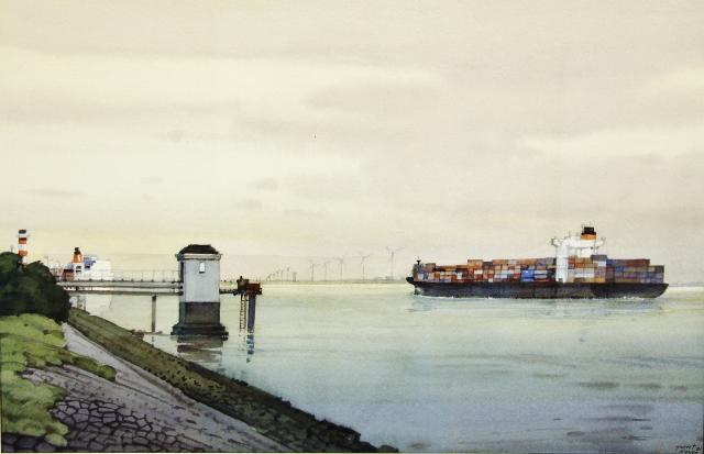 Gerrit neven  hoek van holland met containerschip  aquarel  48 x 73 cm. 1500 00