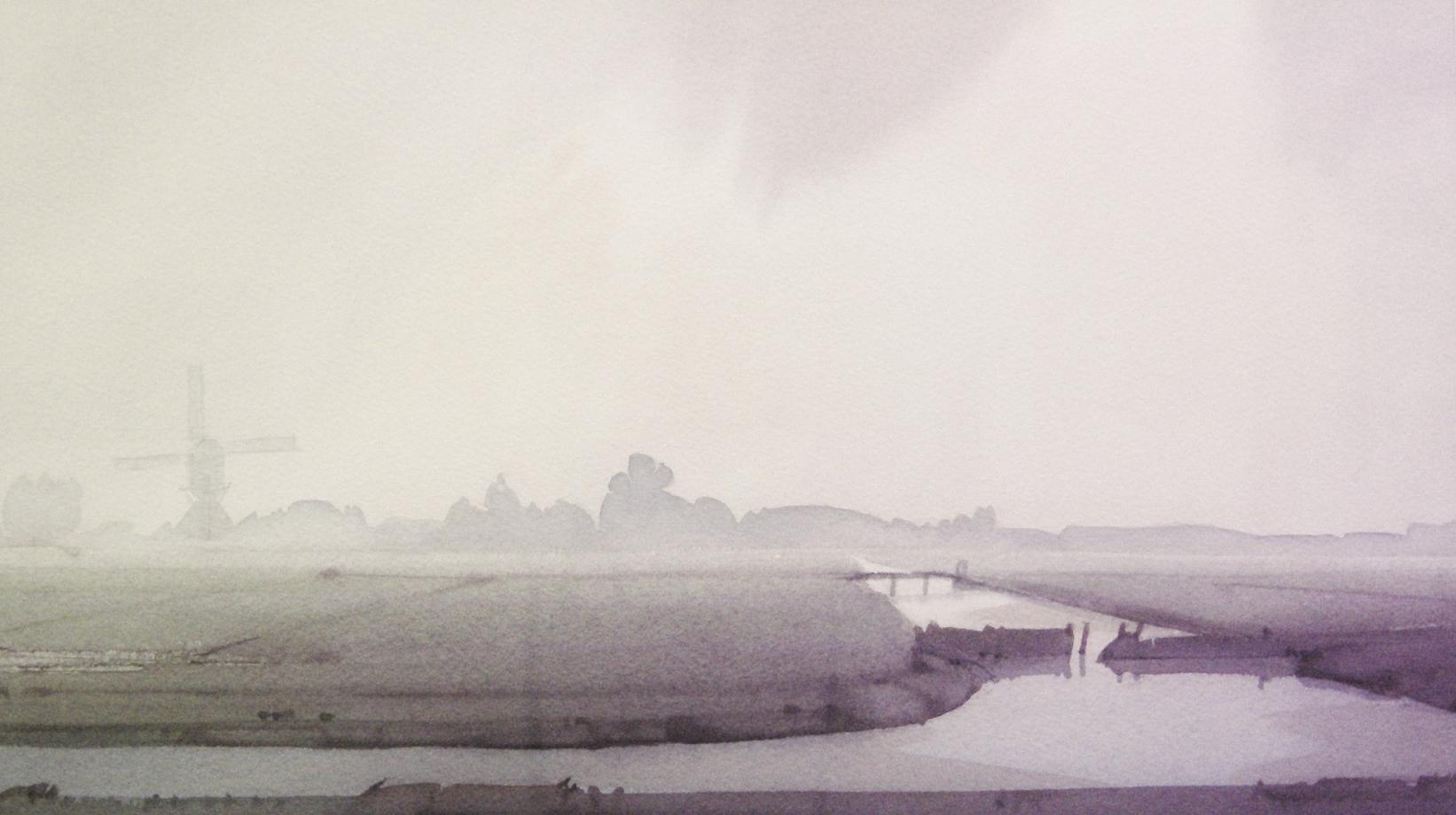 Gerrit neven  polder met molen bij vlist  aquarel  1300 00