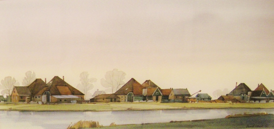 Gerrit neven  stolpboerderijen  aquarel  45 x 70 cm. e. 1850 00