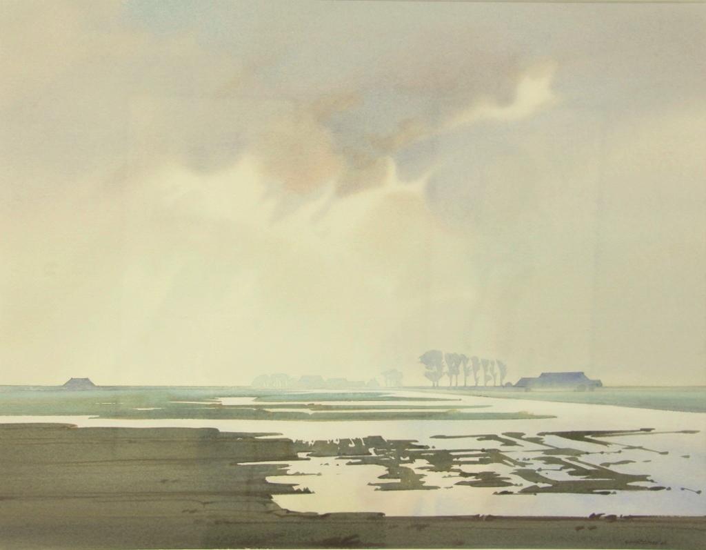 Gerrit neven  polder noord groningen  aquarel  e. 1950 00