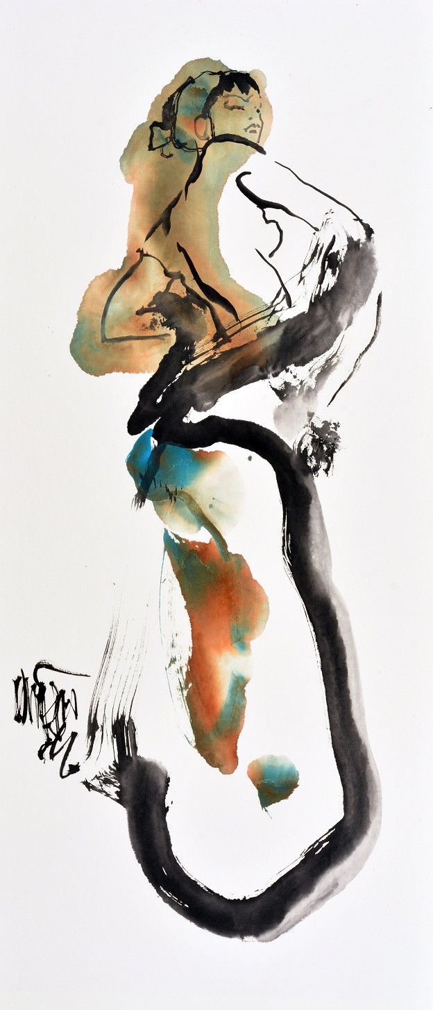 Marie jos%c3%a9 leenders  carmen  sumi e inkt  aquarel op yuan papier  120 60 cm.