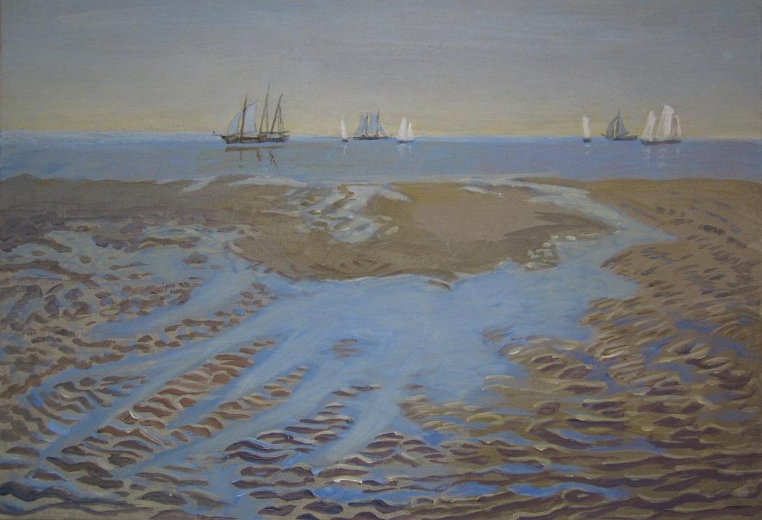 Annet hiltermann  terschelling   zeilboten op de waddenzee  31 9 x 46 0 cm. e. 800 00