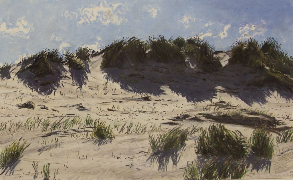 Joanna quispel  terschelling  duinen boschplaat  tegenlicht  pastel  25 x 35 cm. e. 825 00