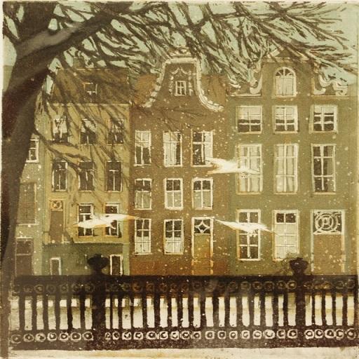 Laetitia de haas   begijnenhof amsterdam  ets  40 x 30 cm. e. 115 00 %28ex lijst%29