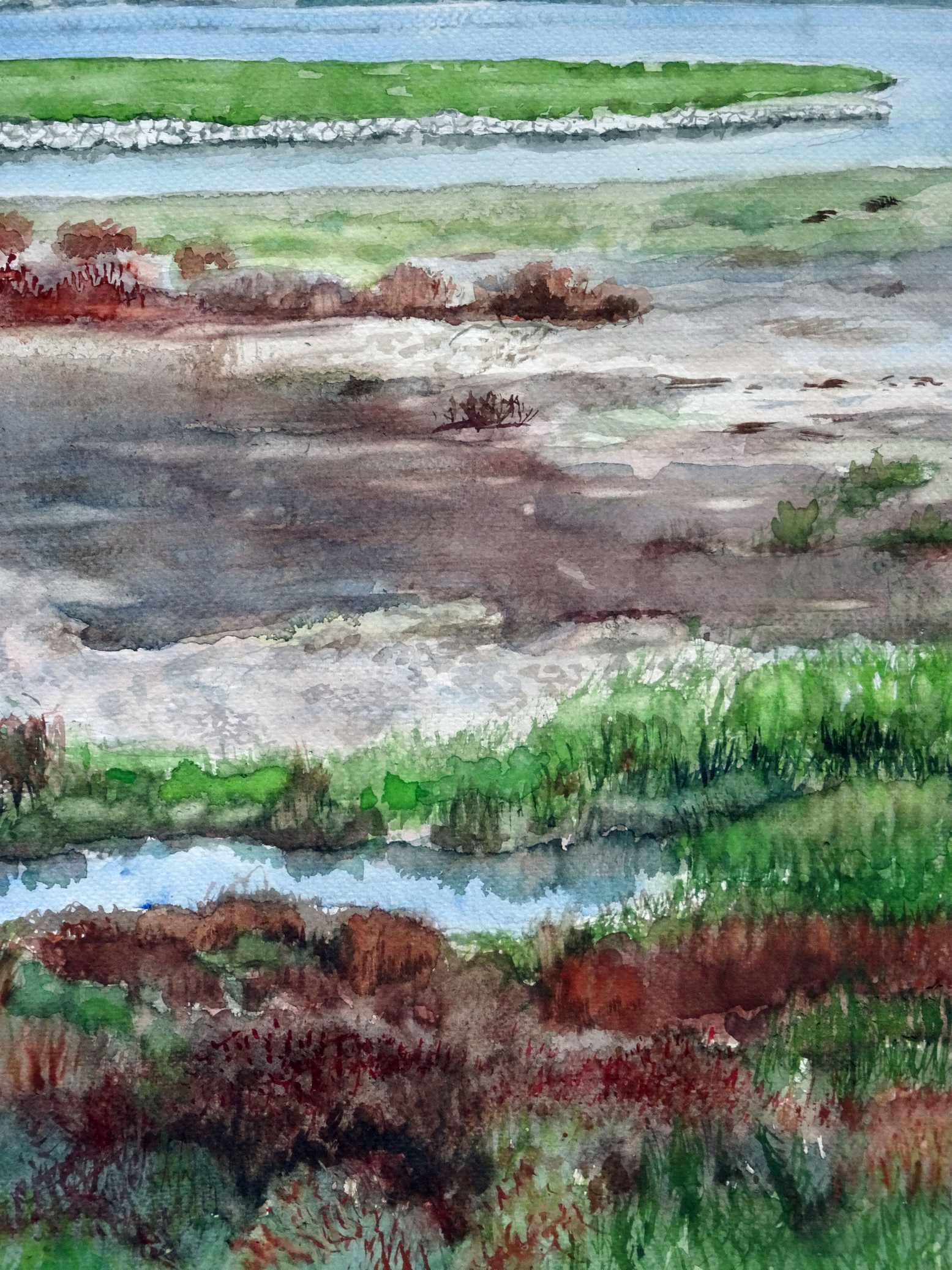 Ineke van haalen   bij het ijsselmeer  aquarel   38 x 28  %e2%82%ac600