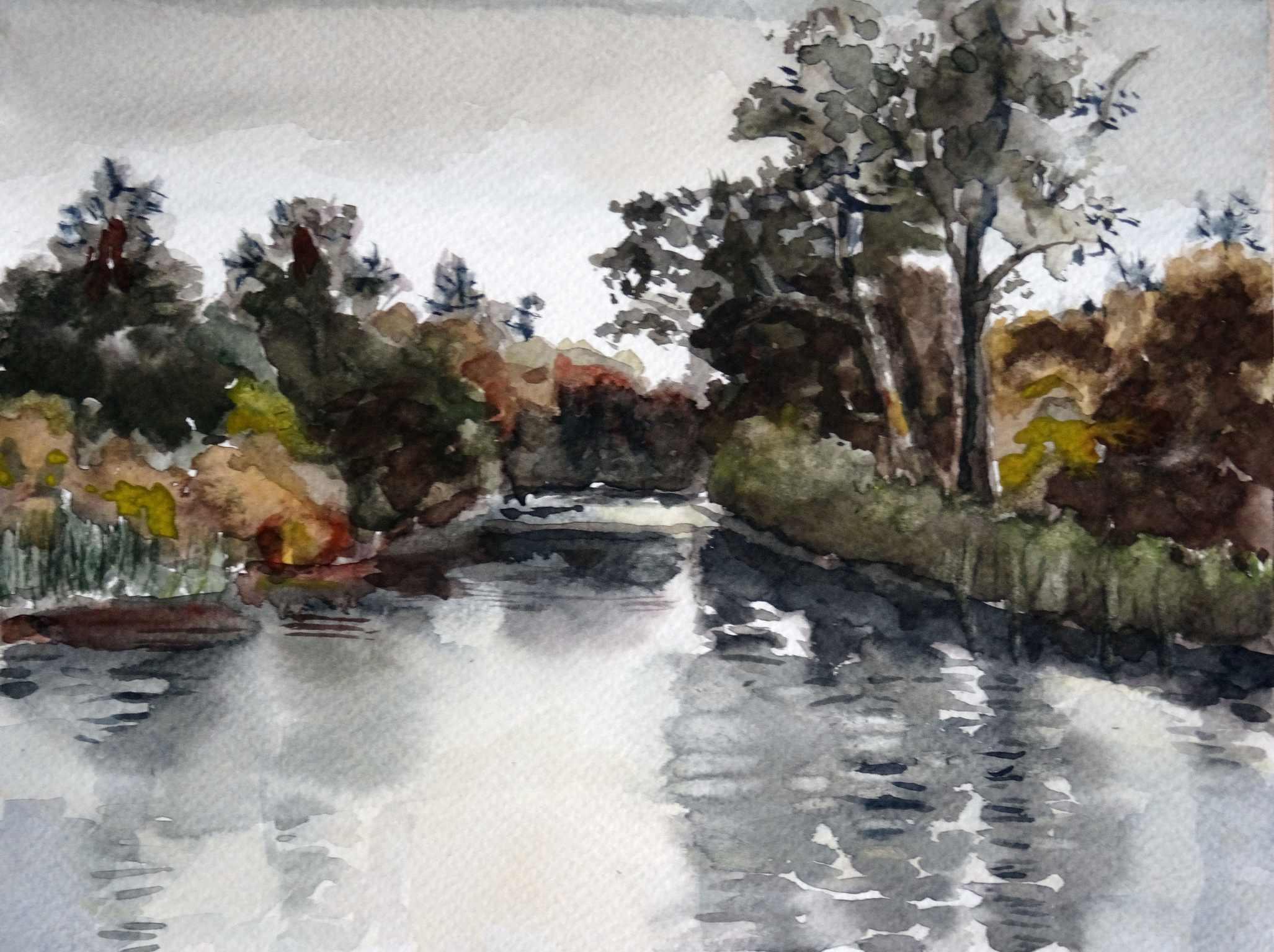 Ineke van haalen   friesland  op het water  aquarel  18 x 24  %e2%82%ac400