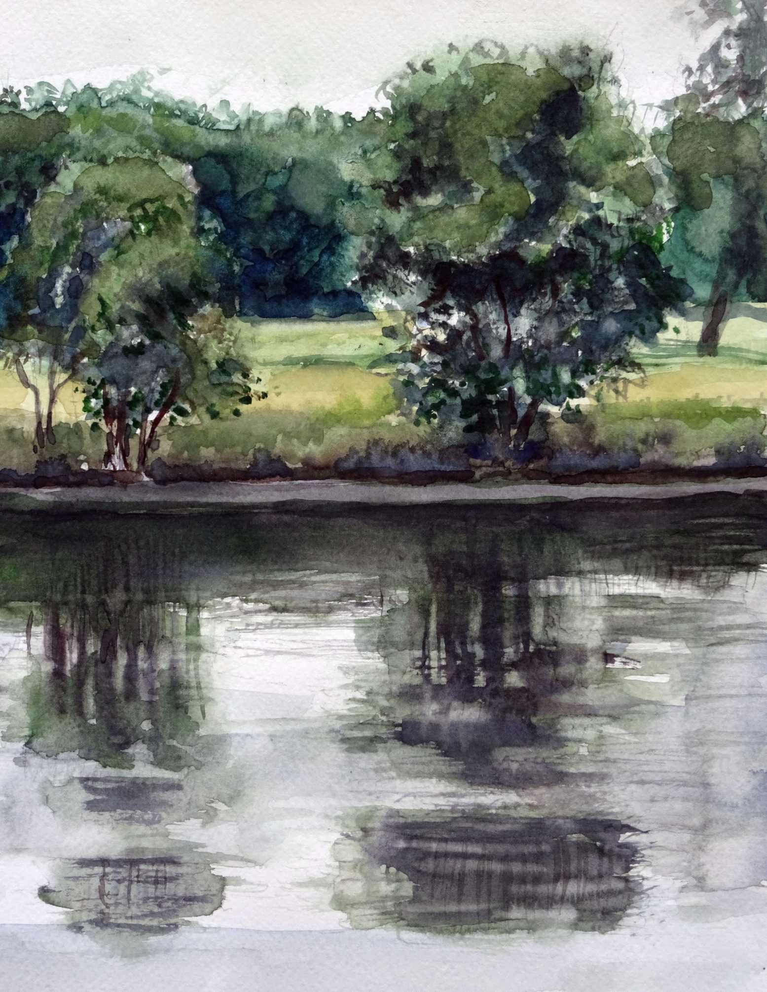 Ineke van haalen  canal du midi  aquarel  24 x 30  %e2%82%ac500