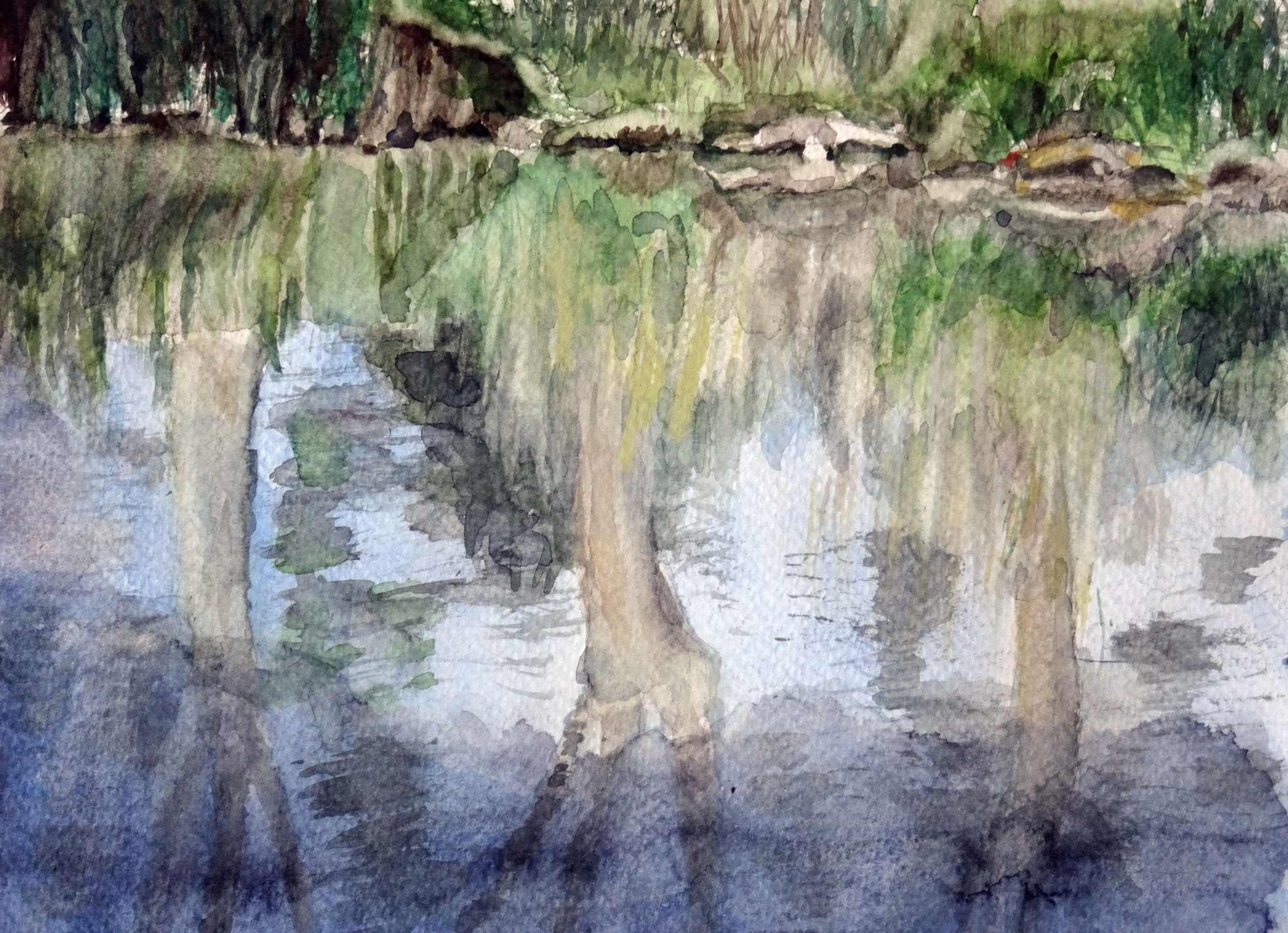 Ineke van haalen  reflectie  aquarel  18 x 24  %e2%82%ac400