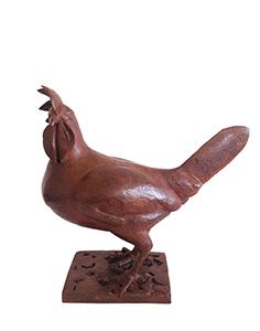 Loek prins   leghorn hen  brons  h. 30 cm