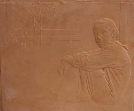 Pedro quesada  relief  ceramiek  28  24 cm.  e. 1200 00 %283%29