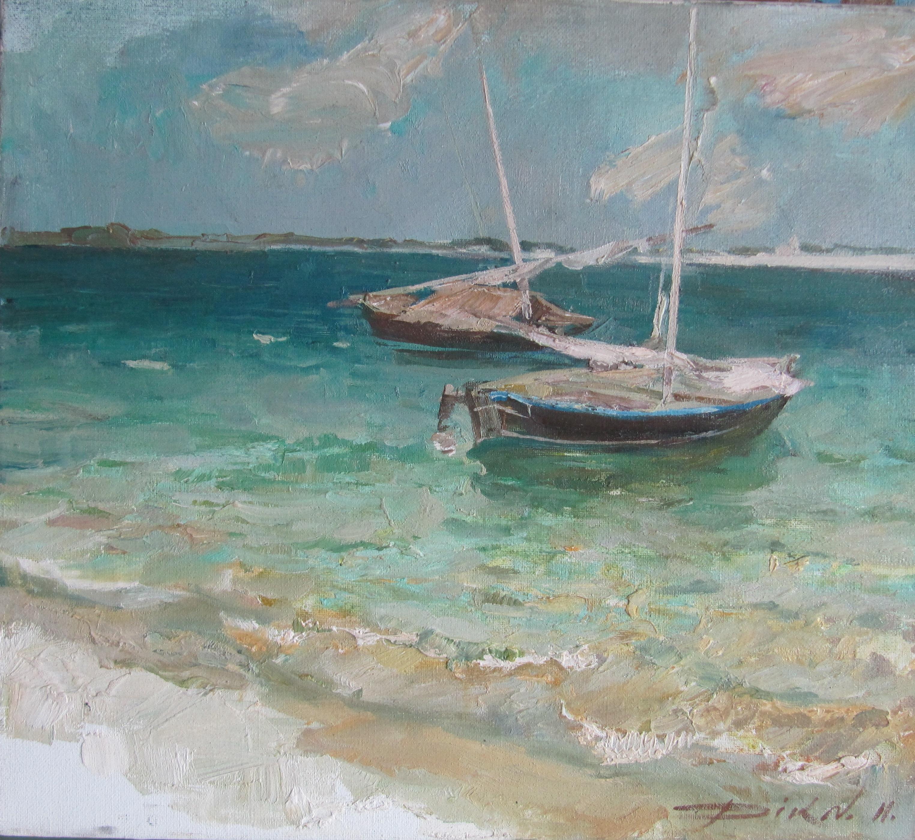 Natalia dik  dow boot in oceaan  olieverf  45 x 50  e. 1350 00