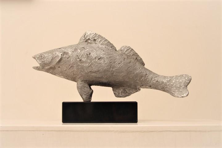Gerry van der velden  vis l  aluminium  20cm  31cm  8cm  e. 800 00