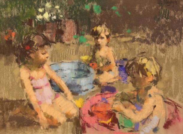 Rob houdijk  kinderen in badje  pastel  59x74 cm.  %e2%82%ac 3200 00